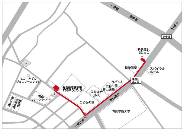 表参道駅からの地図
