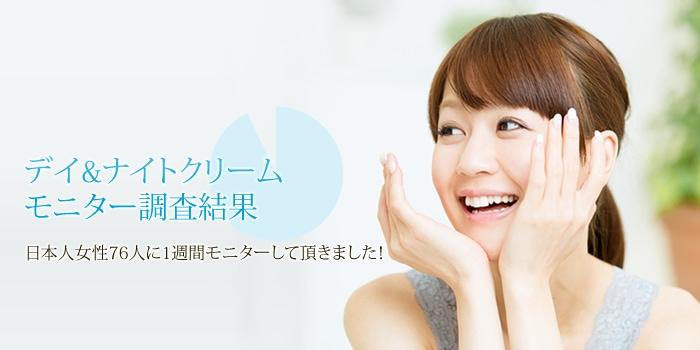 デイ&ナイトクリームモニター調査結果日本人女性76人に1週間モニターして頂きました!