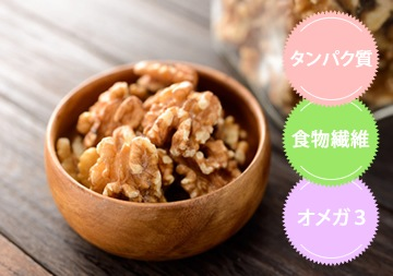 有機ウォールナッツ(くるみ)の主な栄養素:タンパク質、食物繊維、オメガ3