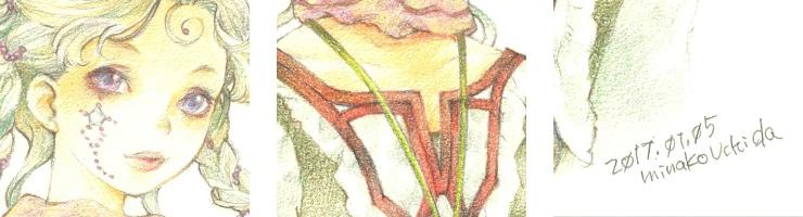 【限定1枚】「スミレ色の瞳のお嬢さん」 /内田美奈子 原画イラストボード