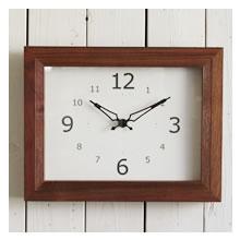 木製 リブクロック 壁掛け時計 ブラウン レクタングル