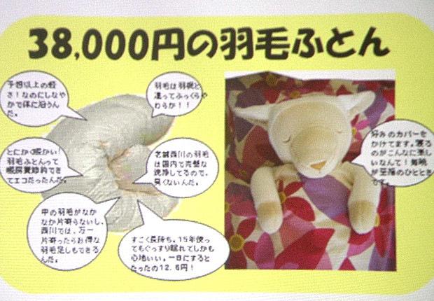羽毛ふとんの値段の差。38,000円の羽毛ふとん