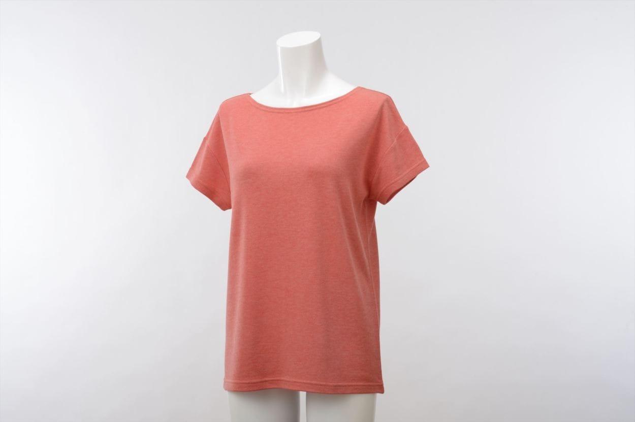 竹のひとつ星 半袖Tシャツ レディス コーラルオレンジ