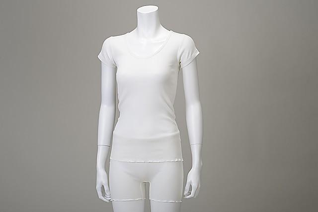 竹のテレコUネックシャツ オフホワイト