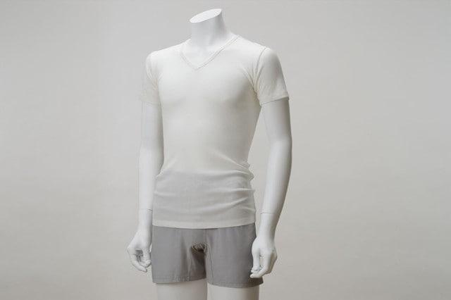 竹のテレコVネックシャツ オフホワイト