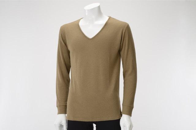 癒布(ゆふ)竹の長袖Vネックシャツ 男性用 ブラウン