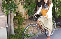 愛犬と自転車で移動、散歩