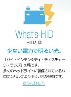 「ハイ・インテンシティ・ディスチャージ・ランプ」の略です。多くのヘッドライトに装備されているハロゲンバルブより明るい光が特徴です。