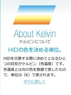 HIDを交換する際に決めてとなるひとつの目安がケルビン(色温度)です。色温度とは光の色を数値で表したもので、単位は(K)で表されます。