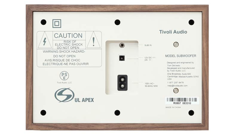 Tivoli Audio(チボリ・オーディオ)のModel Subwooferの裏側