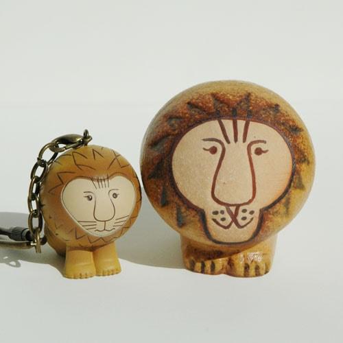 Lisa Larsonリサ・ラーソン/ミニアニマルシリーズ・キーホルダー/ライオンの置物とキーホルダー