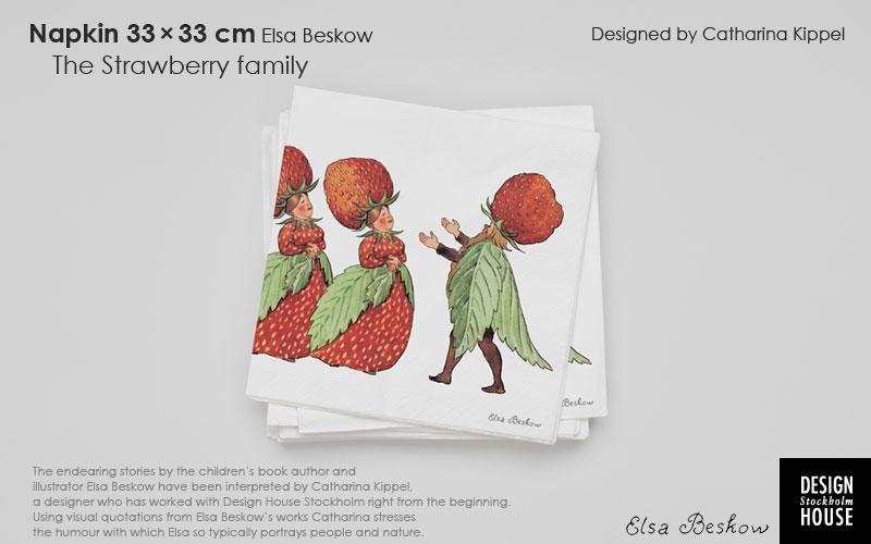 北欧スウェーデンブランド,DESGIN HOUSE stockholm,デザインハウス・ストックホルム,エルサべスコフ・ペーパーナプキン,The Strawberry Family(ストロベリーファミリー),北欧,スウェーデン,北欧雑貨,北欧インテリア,北欧ギフト
