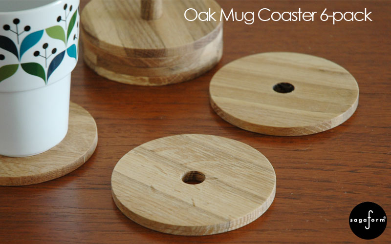Oak Mug Coaster 6-pack,木製コースター6枚セット,Sagaform(サガフォルム),北欧キッチン雑貨,オーク,スウェーデン,北欧食器