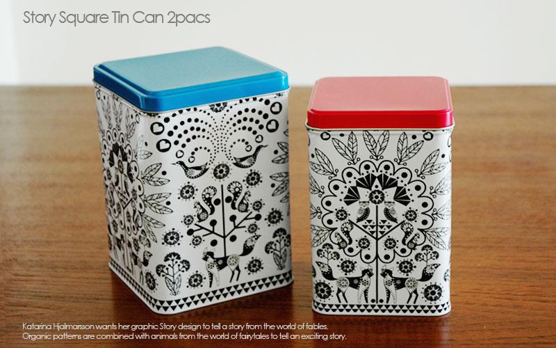 story square tin can,ストーリー・キャニスター缶,2個セット,Sagaform,サガフォルム,北欧キッチン雑貨