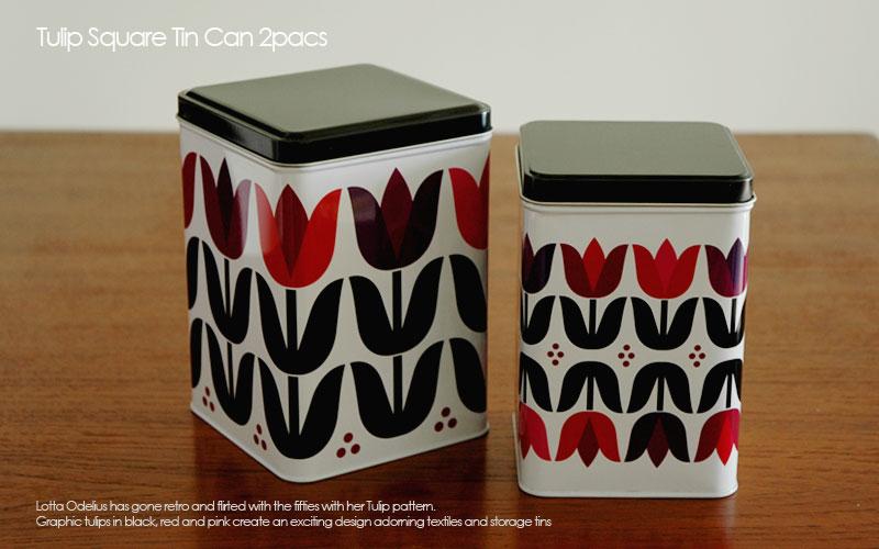tulip square tin can,チューリップ・キャニスター缶,2個セット,Sagaform,サガフォルム,北欧キッチン雑貨,lotta odelius,ロッタ・オデリウス,スウェーデン,北欧雑貨