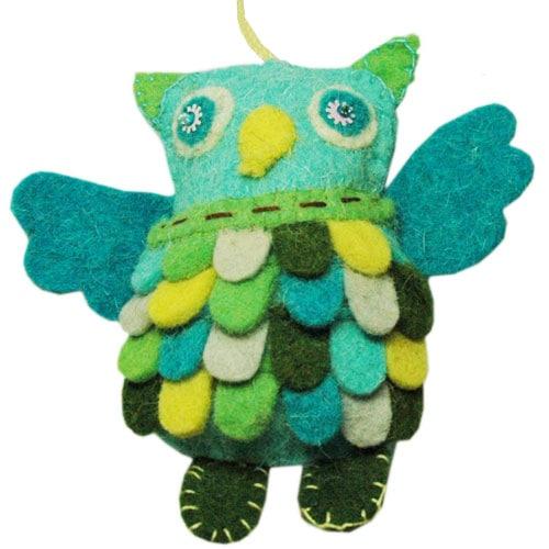 OWLS(フクロウ)ブルーグリーン,フエルトのオーナメント