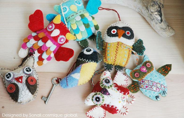 STRANGE BIRD(ストレンジバード),OWLS(フクロウ),フエルトのオーナメント,北欧雑貨,北欧インテリア,北欧ギフト