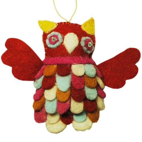 OWLS(フクロウ)レッドピンク,フエルトのオーナメント