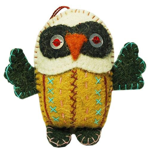 OWLS(フクロウ)ブイエロー,フエルトのオーナメント