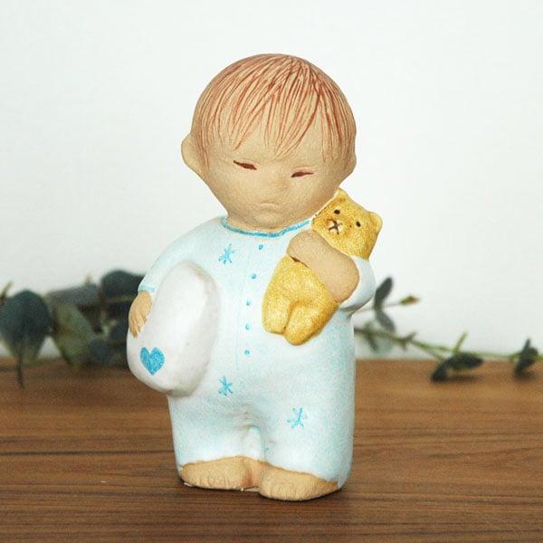 Boy with Bear blueブルー,彫像,オブジェ,置物,Lisa Larson,リサラーソン,北欧,スウェーデン,子ども,北欧雑貨,北欧インテリア