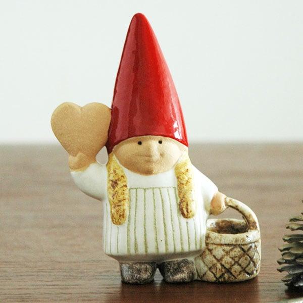Santa girl with basket(サンタガール・ウィズ・バスケット)トムテファミリー,Lisa Larson,リサラーソン,北欧,スウェーデン,子ども,北欧雑貨,北欧インテリア