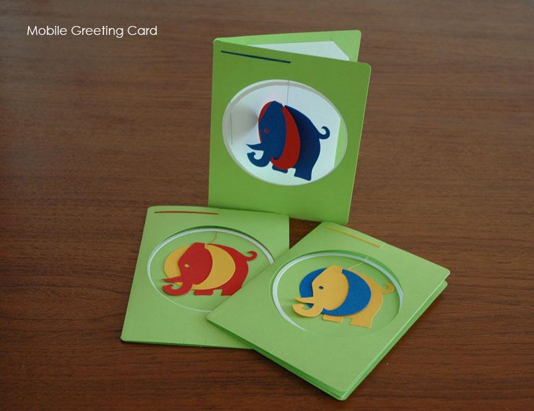 グリーティングカード,Elephant(エレファント)モビール付きカード,Livingly,リビングリー,北欧デンマーク