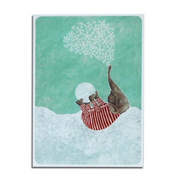 first snow,ゾウ,ポストカード,フィンランド,joutomaa,ヨートマー,reetta lsotupa-siltanen,ッタ・イソトパルシルタネン,北欧雑貨