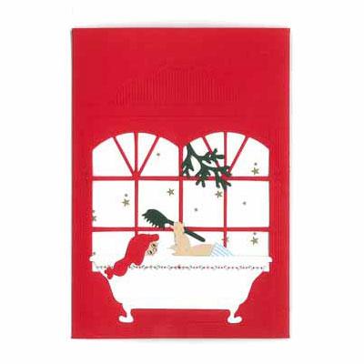 クリスマスカード,サンタさんのバスタイム,Oda Wiedbrecht,オダ・ウィードブレクト,北欧デンマーク,ハンドメイドクラフト