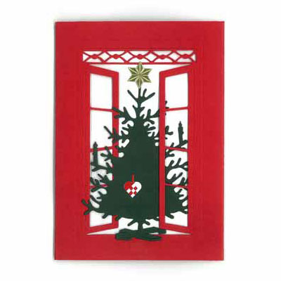 クリスマスカード,窓辺のクリスマスツリー,Oda Wiedbrecht,オダ・ウィードブレクト,北欧デンマーク,ハンドメイドクラフト
