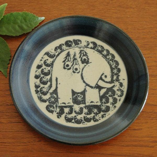 益子の皿,ぞう,青,Lisa Larson,リサラーソ,JAPAN Series,北欧雑貨,北欧インテリア,北欧キッチン雑貨