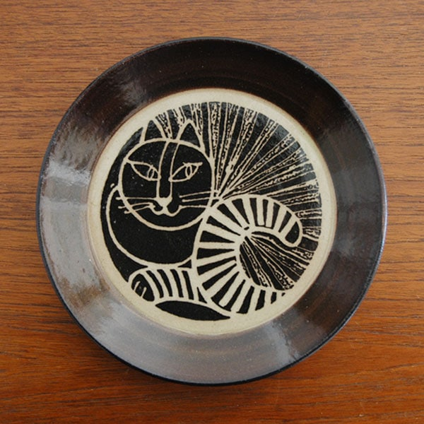 益子の皿ねこ黒,Lisa Larson,リサラーソ,JAPAN Series,北欧雑貨,北欧インテリア,北欧キッチン雑貨