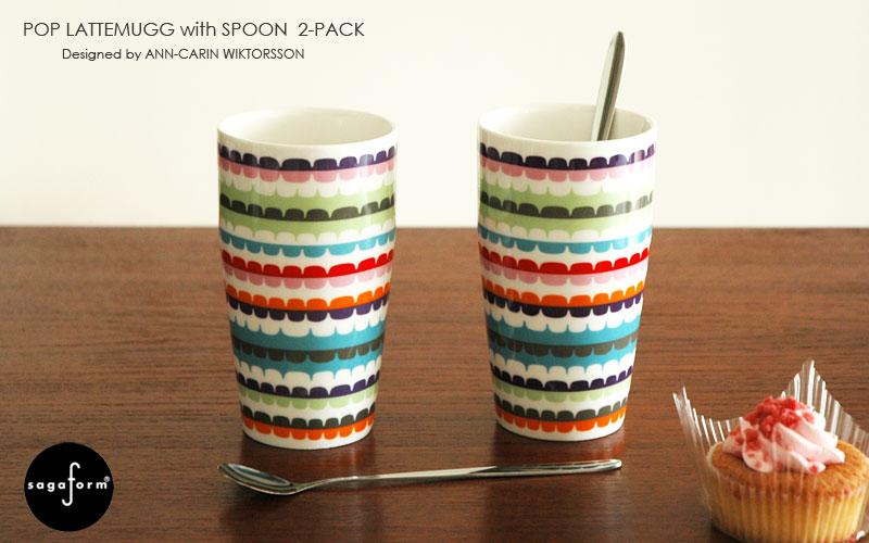 POP latte mug with spoon 2set,ポップ・ラテマグ&スプーン2個セット,Sagaform(サガフォルム),Ann-Carin Wiktorsson(アン・カーリン ヴィクトールション),スウェーデン,北欧食器