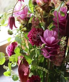シックなピンクをベースに涼やかな印象の花々を伸びやかにアレンジしました。桃白磁 ~ momohakuji