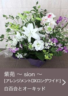 紫苑 〜 sion 〜 [ アレンジメント DX ロングワイド ] 白百合とオーキッド お悔やみ・お供えに送る花