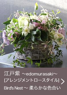 江戸紫 〜edomurasaki〜 [ アレンジメントロースタイル] Bird's Nest 〜 柔らかな色合い お悔やみ・お供えに送る花