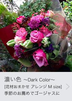 濃い色 〜Dark Color〜 [花材おまかせ アレンジ M size]季節のお薦めでゴージャスに。定番の人気のライフデコのフラワーギフト