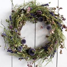 瑠璃 〜 人気のドライリース 色だけ指定、 花材お任せ![ブルー系 ドライリース 23cm] 色合い指定、花材お任せがお買い得 送料無料