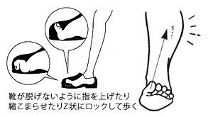 靴が脱げないように指を上げたり縮こまらせたりZ状にロックして歩く