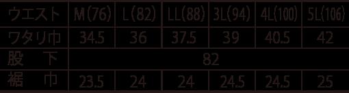 寅壱 ワイドカーゴ/3940-211のサイズ表