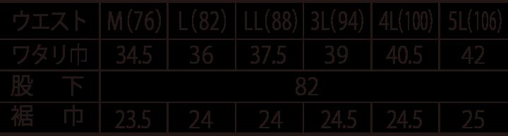 寅壱 スリムカーゴ 3940-219のサイズ表