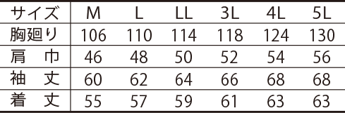 寅壱ライダースジャケット /7260-554のサイズ表
