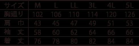 寅壱長袖シャツ /7260-125のサイズ表