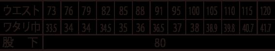 寅壱ワンタックスラックス /2150-212のサイズ表