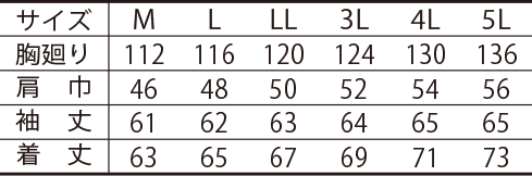 寅壱防寒ライダースジャケット /3680-554のサイズ表