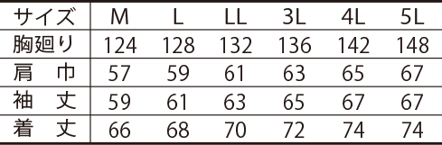 寅壱防寒ブルゾン /3260-129のサイズ表