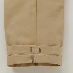 グランシスコ カーゴパンツ GC-5011の裾裏に裾絞り用かがり穴付写真