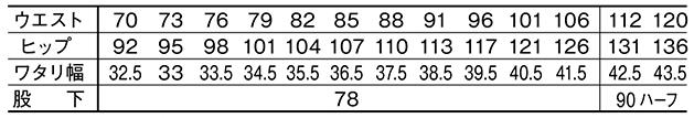 製品制電ノータックカーゴパンツ /71302のサイズ表
