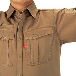 立体裁断の採用によって肩・腕の動きがスムーズです。