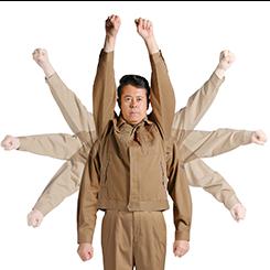 立体裁断で動きやすいNEWバンザイの採用で作業性も大きくアップ。