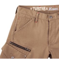 カーゴパンツだけで、様々な形状や機能をもった8つのポケットが装着され、収納性・機能性に優れた作業ズボンとなっています。